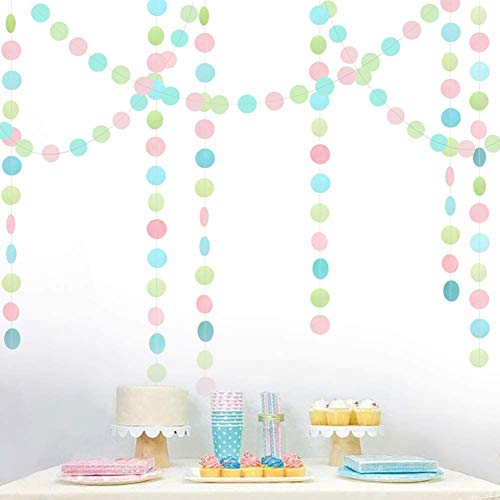 Cheerland Pastel Circle Dots Garland Kit Birthday Party Decorations Light Pink Streamer Hanging Banner Backdrop for Baby Shower/Nursery/Unicorn Party/First Birthday/Wedding