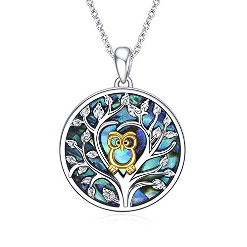 925 Sterling Silver Tree of Life Owl Necklace with Abalone Shell Pendants Jewellery Gifts for Women Girls with VONALA Gift Box (Gold)