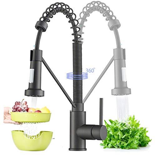 Rozin 360°Drehbar Küchenarmatur Schwarz Wasserhahn Mischbatterie Wasserhahn Küchenarmatur mit Brause Einhandhebelmischer für Armatur Küche Geschirrbrause Spültischarmatur