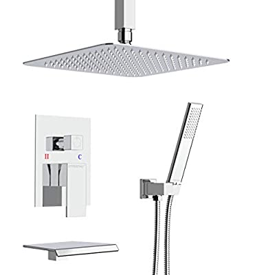 EMBATHER Shower System with Waterfall Tub Spout- Ceiling Shower Tub Faucet Set with 12 Inches Rain Showerhead and Handheld, Polished Chrome (Valve Included)