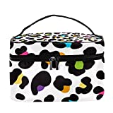 Bolsa de maquillaje de viaje con estampado de leopardo de guepardo grande, organizador de maquillaje, con cremallera, para mujeres y niñas