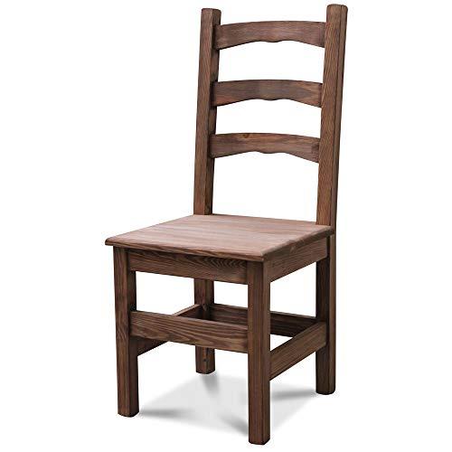 Elean Kuechenstuhl (HSL-01) Holzstuhl Esszimmerstuhl Stuhl mit Lehne Kiefer massiv vollholz zusammengebaut Verschiedene Farbvarianten Neu (Palisander lasiert)