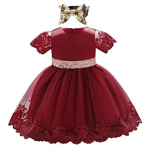 FYMNSI Vestito da bambina per primo compleanno, a maniche corte, in pizzo, con paillette, fiocco, tulle, abito da sera, da matrimonio, con fascia per capelli, per 6-24 mesi, A-rosso scuro., 18-24 Mesi