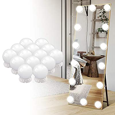 Led Vanity Mirror Lights Hollywood Style Vanity Make Up Light Ultra Bright White LED Dimmable Control Lights for Makeup Vanity Table Bathroom Mirror (Cream)