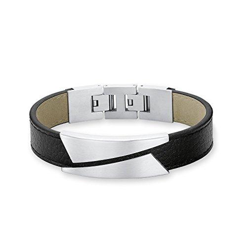 s.Oliver Herren-Armband 20+2,5 cm Edelstahl Leder