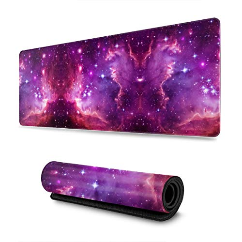 Purple Galaxy Nebula Clouds Gaming Mouse Pad XL, Extended Large Mouse Mat Desk Pad, Stitched Edges Mousepad, Long Non Slip Rubber Base Mice Pad, 31.5 X 11.8 Inch