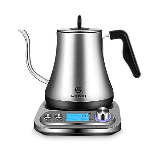 MOOSOO Electric Gooseneck Kettle with Variable Temperature Control amp Presets Pour Over Coffee/Tea Kettle 100% Stainless Steel Inner Lid amp Bottom 1000W Rapid Heating 08L stainless steel
