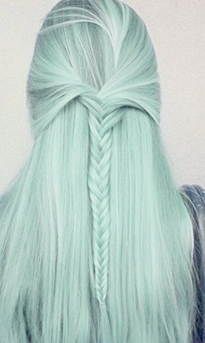 K'ryssma Straight Mint Green Ombre Synthetic Wigs for White Women High Quality Black Roots Light Green Hair Long Wig Cheap Machine Made Non Lace Wigs for Cosplay 22 inches