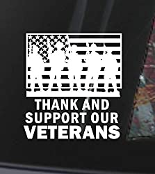 Image: Thank and Support our Veterans w Flag, Window Decal, Sticker, Car, Laptop, Love | Brand: Gibson Window Decals