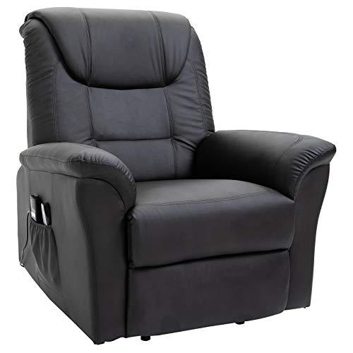HOMCOM Massagesessel Massagestuhl Wärmefunktion und Massage Fernbedienung PU Schwarz 100 x 93 x 105 cm