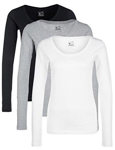 Berydale Camiseta de manga larga con cuello redondo de 100 % algodón, Mujeres, Negro / Blanco / Gris (paquete de 3), L
