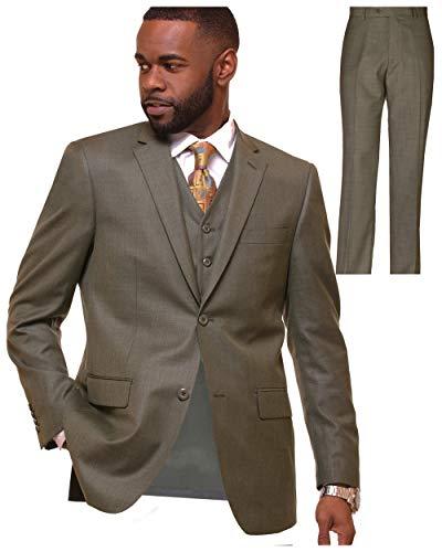 VITALI Mens 3 Piece Suit Jacket Vest Pants Wedding Business Prom Suits Sharkskin Dark Grey