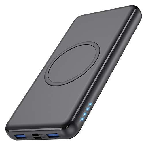 Wireless Powerbank 26800mAh - 10W Wireless Charging + 18W PD Fast Charging Feob Externer Akku【2 Schnelles Aufladen Port + Gleichzeitige Aufladen 4 Geräte】 Tragbares Ladegerät für Smartphones, Tablets