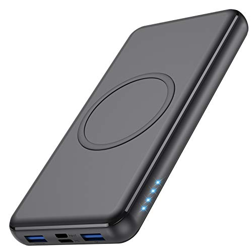 Wireless Powerbank 26800mAh - 10W Wireless Charging + 18W PD Fast Charging Feob Externer Akku【2 Schnelles Aufladen Port + Gleichzeitige Aufladen 4 Geräte】 Tragbares Ladegerät für Smartphones, Tablets