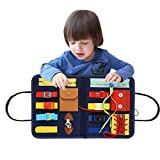 Montessori Bebe Planches D'apprentissage Panneau De Feutre D'apprentissage Pour Apprendre À Zipper, Bouton, Boucle - Planche D'apprentissage Montessori, Jouet Éducatif Pour Bébé 1-6 Ans- 32X28X22.6 Cm