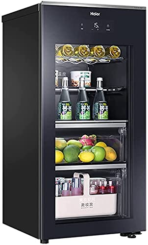 FREEZYMAN Large Home Ice Bar, 135L Free-Standing Refrigerator, Beverage Beer Wine Wine Cabinet, Temperature Control with Light (Color : Black, Size : 5257.8107.5cm)
