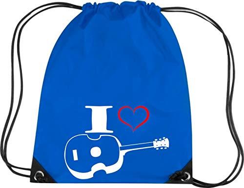 Camiseta stown Premium gymsac Música I Love Ukelele, azul cobalto