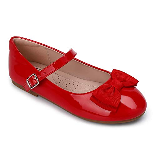 Trary Red Girls Flats Slip on Shoes with Bow Knot 10