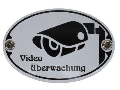 Türschild Video Überwachung Emaille Schild Jugendstil 7 x 10,5 cm Emailschild oval weiß (ohne Holzrahmen)