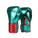 XYXZ Guantes De Boxeo MMA Muay Thai Guantes De Boxeo De Cuero De Microfibra Adultos Niños Mujeres Hombres MMA Gym Training Grant Equipos De Boxeo, Verde, 8Oz