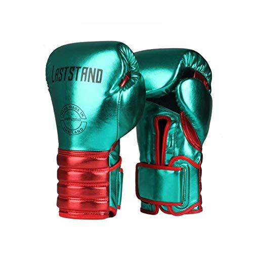 XYXZ Guantoni Da Boxe Mma Muay Thai Microfibra Pelle Guantoni Da Boxe Adulto Bambini Donna Uomo Mma Gym Training Grant Attrezzature Per Boxe, Verde, 6Oz