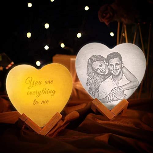 Personalisierte 3D Herzform-Mondlampe mit Foto & Text Nachtlicht Bedrucken mit Steckdose Dimmbar Bild Selbst Gestalten Sternenhimmel für Baby Kinder Freund Frau Zimmer Geschenk Weihnachten Geburtstag