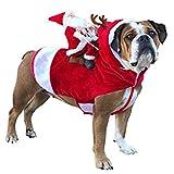 fpengfashion - Disfraz de Papá Noel para Mascota, Disfraz de Perro o Gato, Estilo Vaquero, Sudadera con Capucha