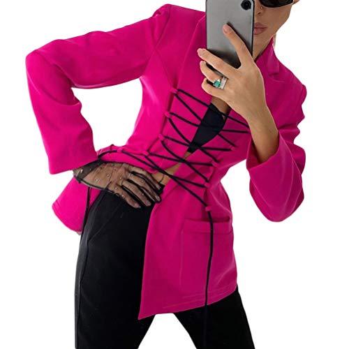 Onsoyours Blazer Mujer Chaqueta de Traje Slim Fit Elegante Casual Oficina Negocios Outwear con Cordón Solapa Manga Larga Chaqueta de Traje RosaRojo L