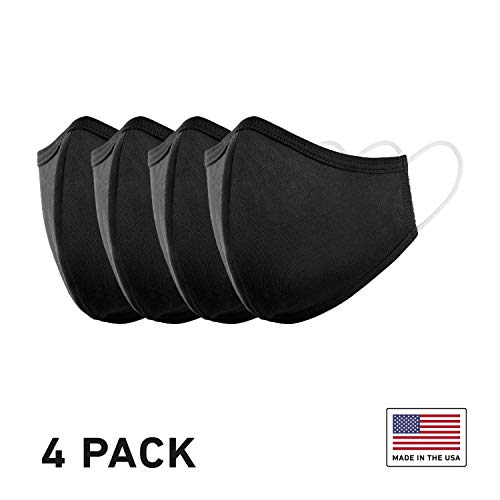 StringKing Cloth Face Mask for Protection - USA-Made, CDC-Recommended - Washable, Reusable, Comfortable and Breathable Masks (4 Pack - Black)