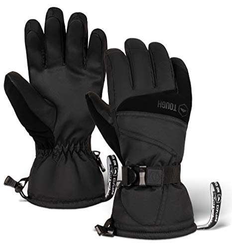 Ski & Snow Gloves - Waterproof & Windproof Winter Snowboard Gloves for Men & Women for Cold Weather Skiing & Snowboarding - With Wrist Leashes, Nylon Shell, Thermal Insulation & Synthetic Leather Palm