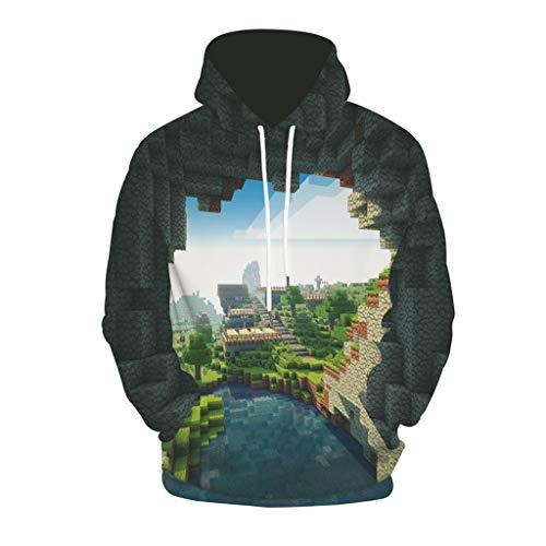 Mensera Unisex 3D Druck Hoodie Kapuzenpullover Langarm Minecraft/The Matrix Muster Pullover Kapuzenpulli Sweatshirt Kapuzenjacke Mit Taschen S-2XL
