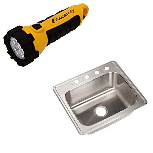 Houzer Glowtone Series Drop-in Stainless Steel 25 in. 4-hole Single Bowl Kitchen Sink