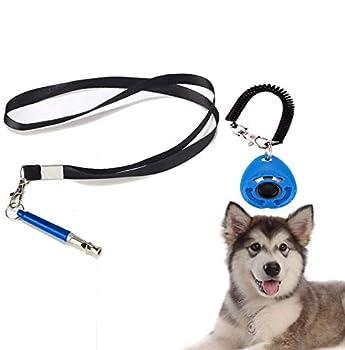Ikaar Sifflet pour chien à ultrasons pour chien avec cordon et fréquence réglable et clicker pour chien Bleu