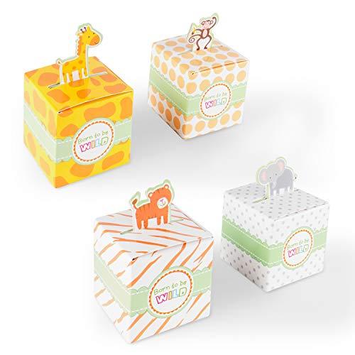 Born To Be Wild Party Favor Caja de recuerdos de fiesta con temática de la selva, animales de zoológico para baby shower, cumpleaños de niño (24 cajas)
