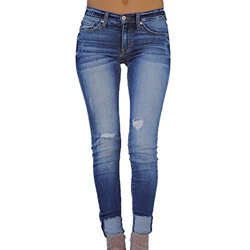 Sayla Vaqueros Mujer Push Up Tejanos Sexy Moda Casual EláStico Plus Flojo Agujero Denim Casual PequeñOs Pies Pantalones Cortosantalones De Cuero (L, Azul)