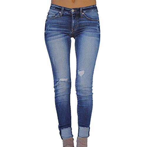 BHYDRY 2019 Mujeres Otoño Elastic Plus Loose Hole Denim Casual Pies pequeños recortados Jeans