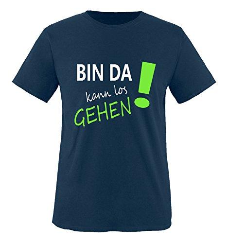 Comedy Shirts - Bin da kann los gehen! - Jungen T-Shirt - Navy/Weiss-Neongrün Gr. 152/164
