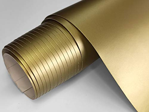 Vinilo Adhesivo Oro Metalizado de 60x300 cm Para Muebles Cocina Paredes Ventanas Manualidades Papel Adhesivo Decorativo (ORO, 60x300 cm)