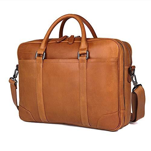 ChengBeautiful Laptop-Umhängetasche Herren Aktentasche aus Leder Retro Klassische Geschäfts-Handtasche 14 Zoll Computer-Beutel-Doppelt-Reißverschluss-Tasche Für Das Geschäft