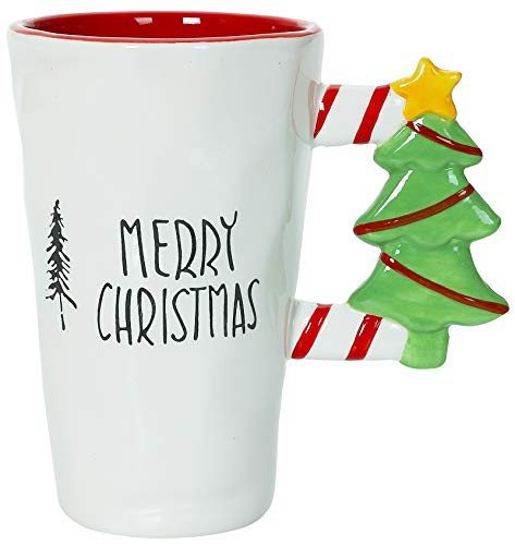 Merry Christmas - Christmas Themed Ceramic Glossy 17 oz Mug With Large Tree Handle (Microwave and Dishwasher Safe)