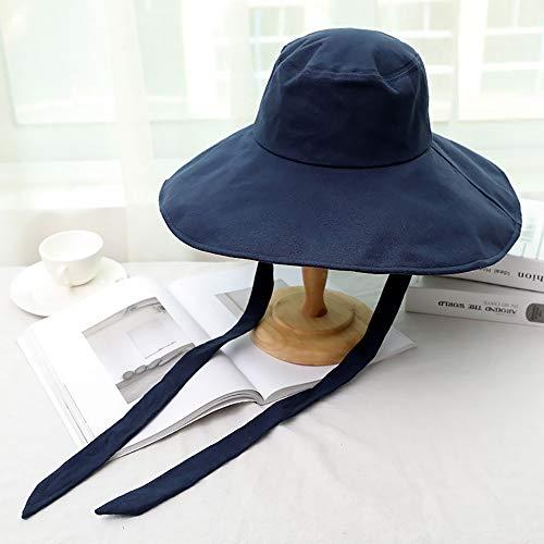 Cappello Esterno del Sole di Estate del Cappello Signora, Tesa Larga Turismo Striscione Cappello da Sole Modo del Cappello Pieghevole, Cappello della Spiaggia d'Estate Che Copre Il Viso con,Navy Blue