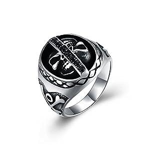 Rockyu ブランド メンズ 指輪 シルバー 黒 ブラック スカル リング カッコいい 十字架 髑髏指輪 23号 ドクロ チタン指輪 ヒップホップ ファッション アクセサリー