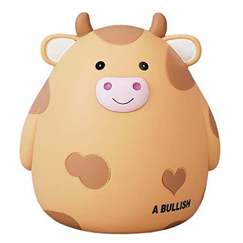 Eco Memos Hucha para Niños de Dibujos Animados Cute Cow Money Bank - Banco de Monedas Irrompible para Niñas y Niños, Huchas de Tamaño Mediano, Regalo de Juguete de Ajuste para Niños (Caqui)