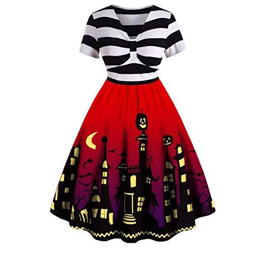Alwayswin Petticoat Kleider 50 jahre Halloween Damen V-Ausschnitt Rockabilly Kleider Vintage Elegant Cocktailkleider A-Linien Kleid Audrey Hepburn Kleid Abend Party Kleider