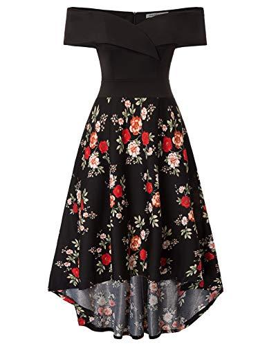 JASAMBAC Wedding Guest Dresses for Women High Low Off The Shoulder Formal Dress Black Floral 2XL