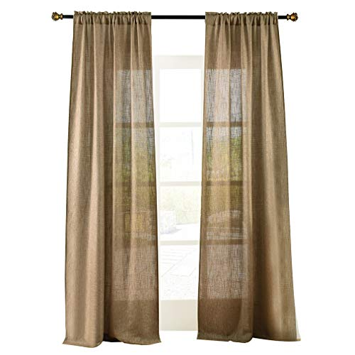 Valea Home Soft Burlap Natural Tan Rod Pocket Window Curtain...