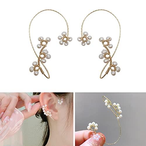 LIUU 1 Pair Vintage Ear Cuff Earrings,Women Fashion Beading Ear Hook Earrings Ear Wrap Pearl Flower Ear Clips Crawler Hook Earrings Non Piercing Jewelry for Women Girls (White)