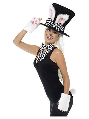 shoperama Juego de accesorios de Mrzhase de cilindro, sombrero, conejo, orejas de conejo, guantes, cola, lazo, Alicia en el pas de las maravillas.