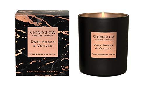 StoneGlow Seasonal Scents LUNA Dark Amber & Vetivert Tumbler Candle- Boxed