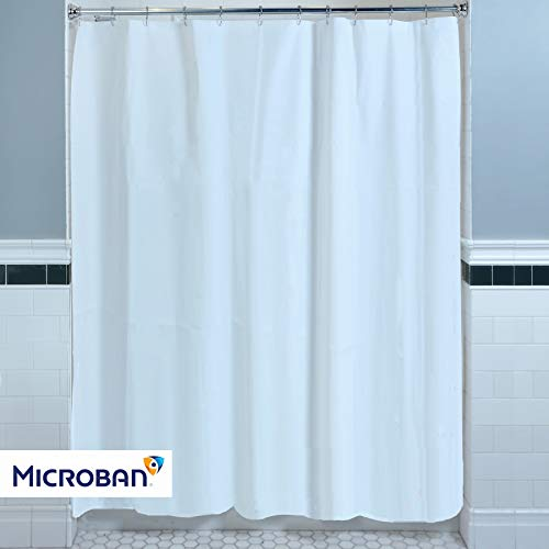 SlipX Solutions Mildew Resistant White Shower Curtain Liner with Microban Antimicrobial Protection (100% PEVA, BPA-Free, Odorless, Magnetic Weights, 70' W x 72' H, 3 Gauge)